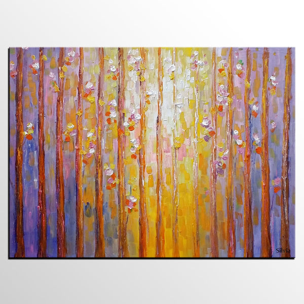 Landscape Painting, Birch Tree Art, Original Oil Painting, Bedroom Wall Art
