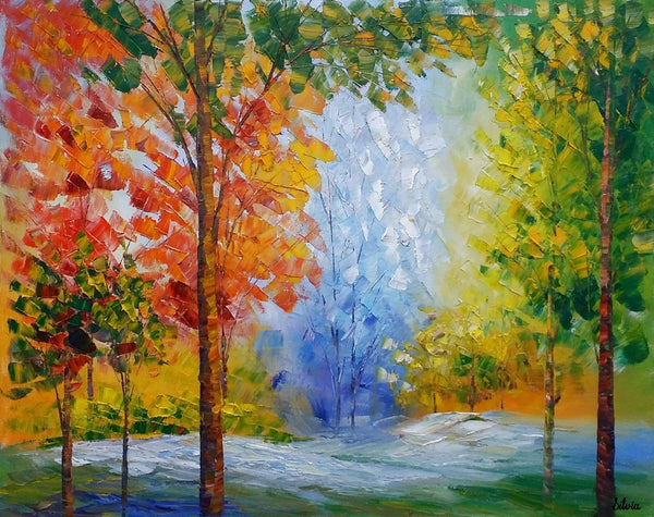 Canvas Painting, Bedroom Canvas Art, Original Oil Painting, Autumn Tree Painting - Silvia Home Craft