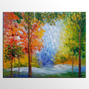 Canvas Painting, Bedroom Canvas Art, Original Oil Painting, Autumn Tree Painting