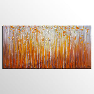 Birch Tree Painting, Canvas Art, Abstract Art, Oil Painting for Bedroom - Silvia Home Craft