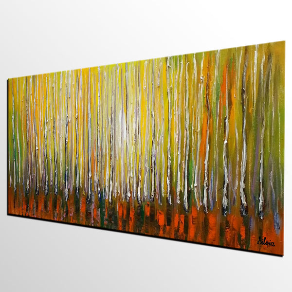 Abstract Painting, Large Abstract Art, Original Painting, Bedroom Canvas Art, Birch Tree Painting - Silvia Home Craft