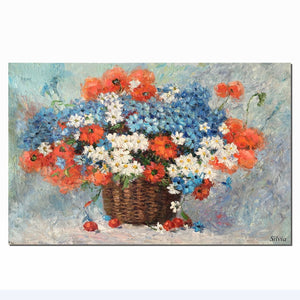 Flower Painting, Large Art Canvas Art, Bedroom Wall Art, Oil Painting - Silvia Home Craft
