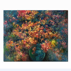 Flower Oil Painting, Bedroom Wall Art, Floral Painting, Canvas Art - Silvia Home Craft