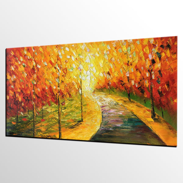 Autumn Tree Art, Original Painting, Oil Painting, Canvas Painting, Landscape Painting - Silvia Home Craft