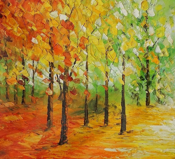 Landscape Painting, Large Canvas Art, Original Oil Painting, Autumn Tree Painting - Silvia Home Craft