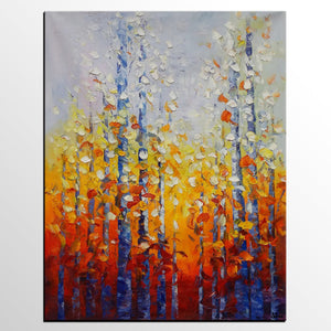 Autumn Tree Painting, Landscape painting, Original Oil Painting, Bedroom Wall Art - Silvia Home Craft