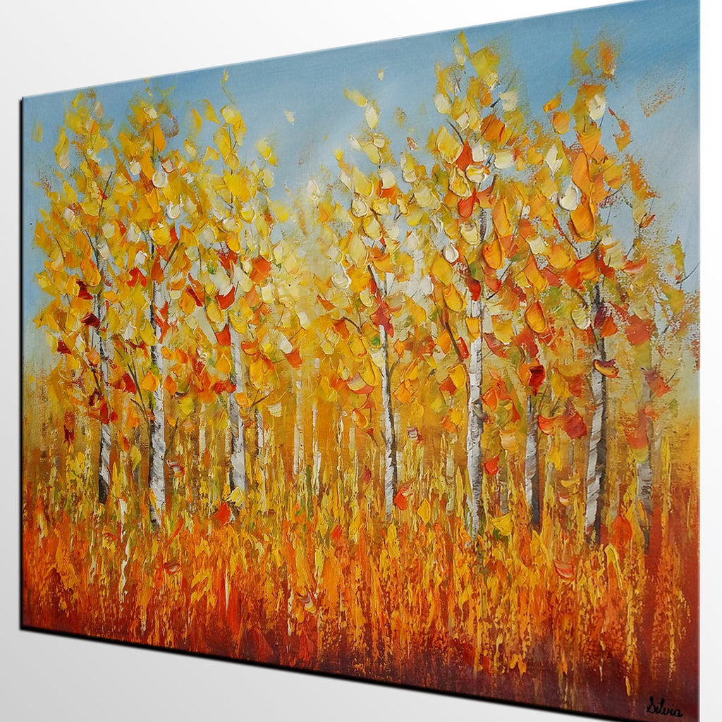 Autumn Landscape Painting, Large Original Painting, Canvas Wall Art ...