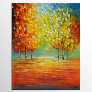 Original Painting, Bedroom Canvas Art, Autumn Tree Landscape Painting - Silvia Home Craft