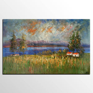 Large Oil Painting, Original Painting, Canvas Painting, Rustic Landscape painting - Silvia Home Craft