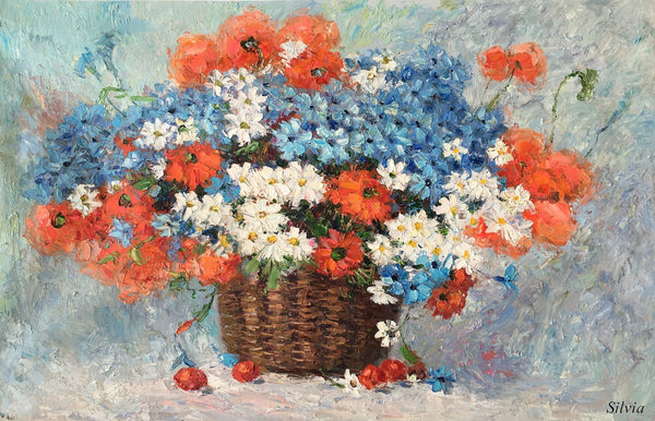 Flower Painting, Large Art Canvas Art, Bedroom Wall Art, Oil Painting