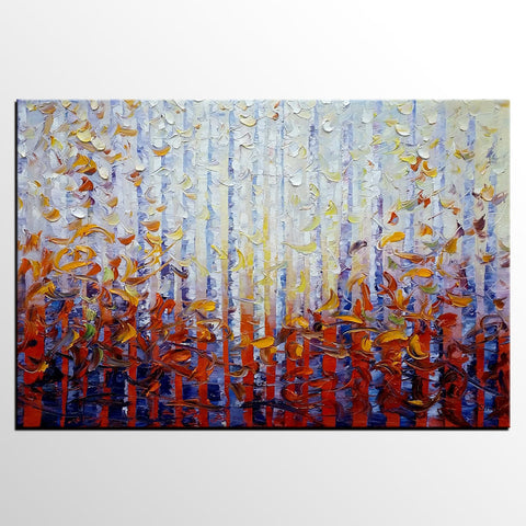 Birch Tree Landscape Painting, Abstract Painting, Original Painting, Large Wall Art - Silvia Home Craft