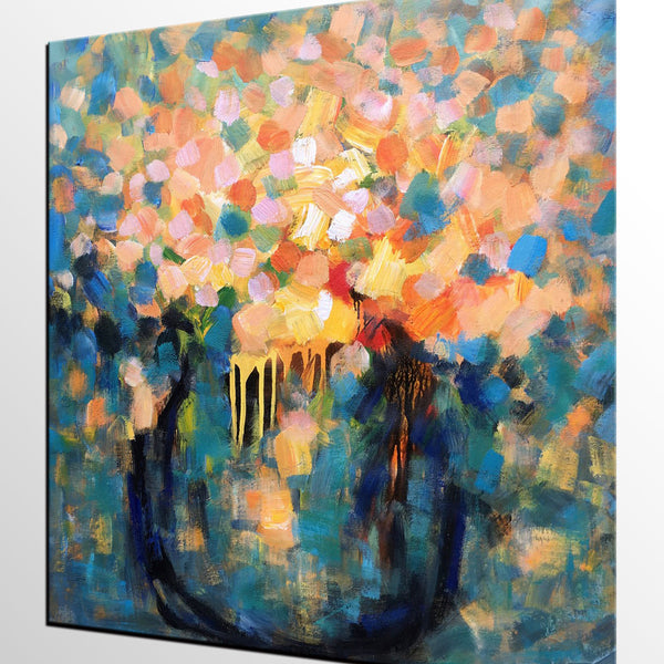 Abstract Painting, Flower Painting, Canvas Oil Painting, Original Painting, Bedroom Art - Silvia Home Craft