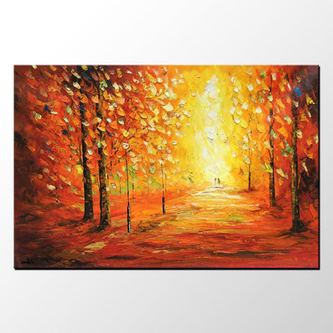 Landscape Painting, Large Oil Painting, Abstract Painting, Autumn Tree Painting