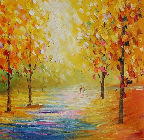 Autumn Tree Painting, Large Oil Painting, Canvas Art Painting, Landscape Painting - Silvia Home Craft