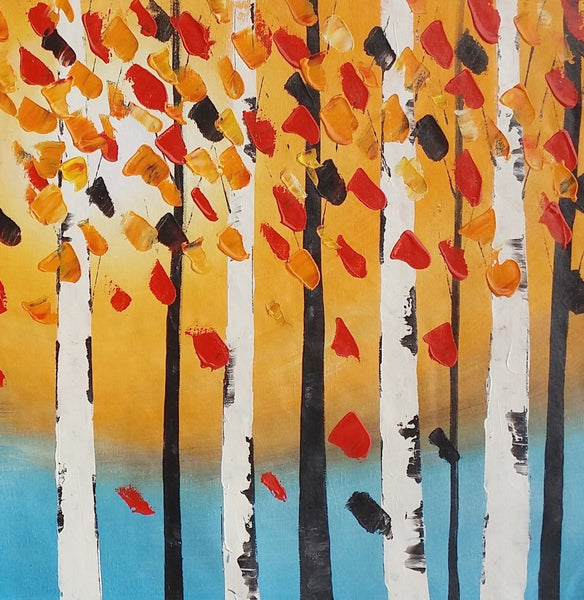 Birch Tree Wall Art, Modern Art, Abstract Landscape Art, Canvas Painting