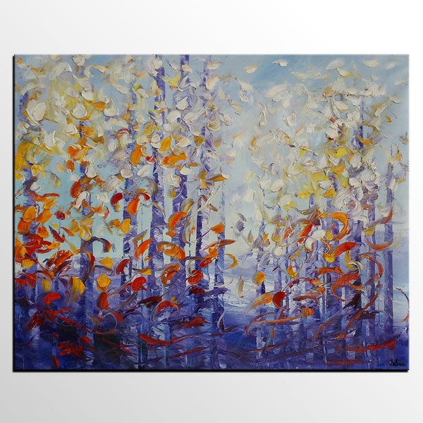 Original Painting, Large Oil Painting, Tree Landscape Painting, Birch Tree Painting - Silvia Home Craft