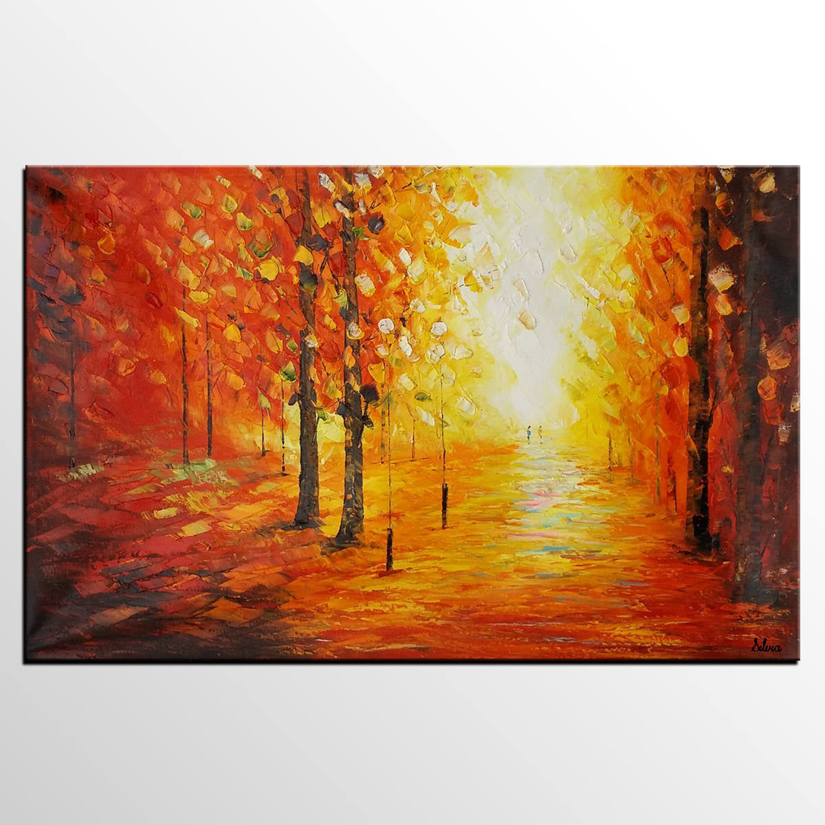 Landscape Painting, Canvas Wall Art, Large Oil Painting, Autumn Tree Painting