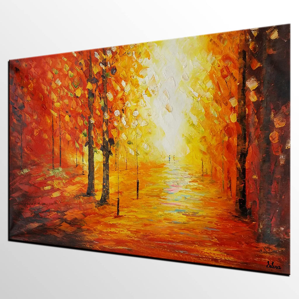 Landscape Painting, Canvas Wall Art, Large Oil Painting, Autumn Tree ...