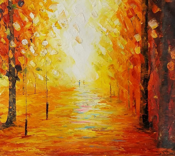 Landscape Painting, Canvas Wall Art, Large Oil Painting, Autumn Tree Painting - Silvia Home Craft