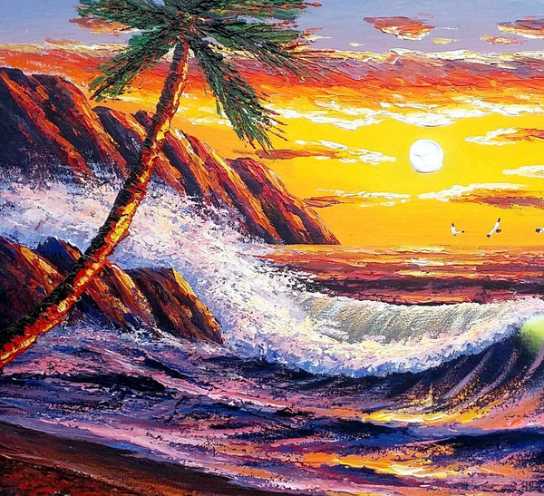 Palm Tree Painting, Seascape Painting, Original Wall Art, Canvas Painting, Sunrise Painting - Silvia Home Craft