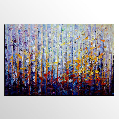 Birch Tree Painting, Abstract Oil Painting, Custom Painting, Large Wall Art - Silvia Home Craft