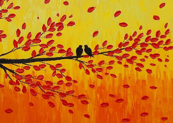 Original Art Painting, Bedroom Wall Art, Abstract Art, Canvas Painting, Love Birds Painting