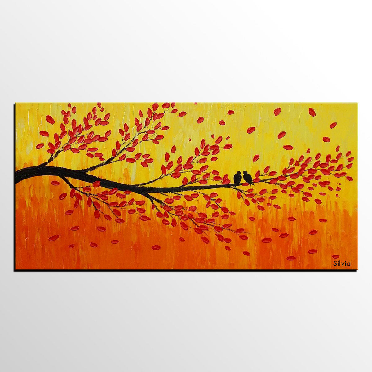 Original Art Painting Bedroom Wall Art Abstract Art Canvas Painting Love Birds Painting