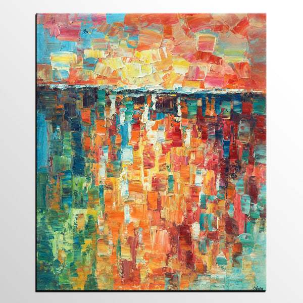 Heavy Texture Painting, Canvas Painting, Large Canvas Art, Impasto Wall Art