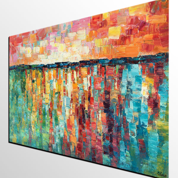Abstract Painting, Oil Painting, Canvas Painting, Dining Room Wall Art, Large Abstract Art - Silvia Home Craft