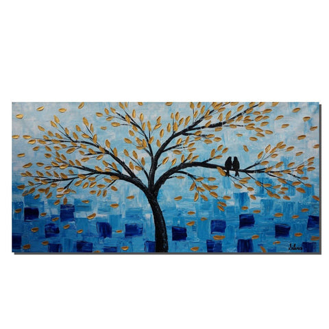 Abstract Wall Art, Love Birds Painting, Bedroom Canvas Painting, Original Art