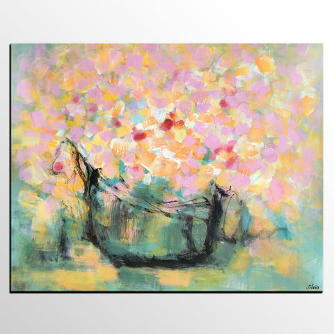 Abstract Art, Original Painting, Flower Oil Painting, Bedroom Canvas Painting, Floral Painting