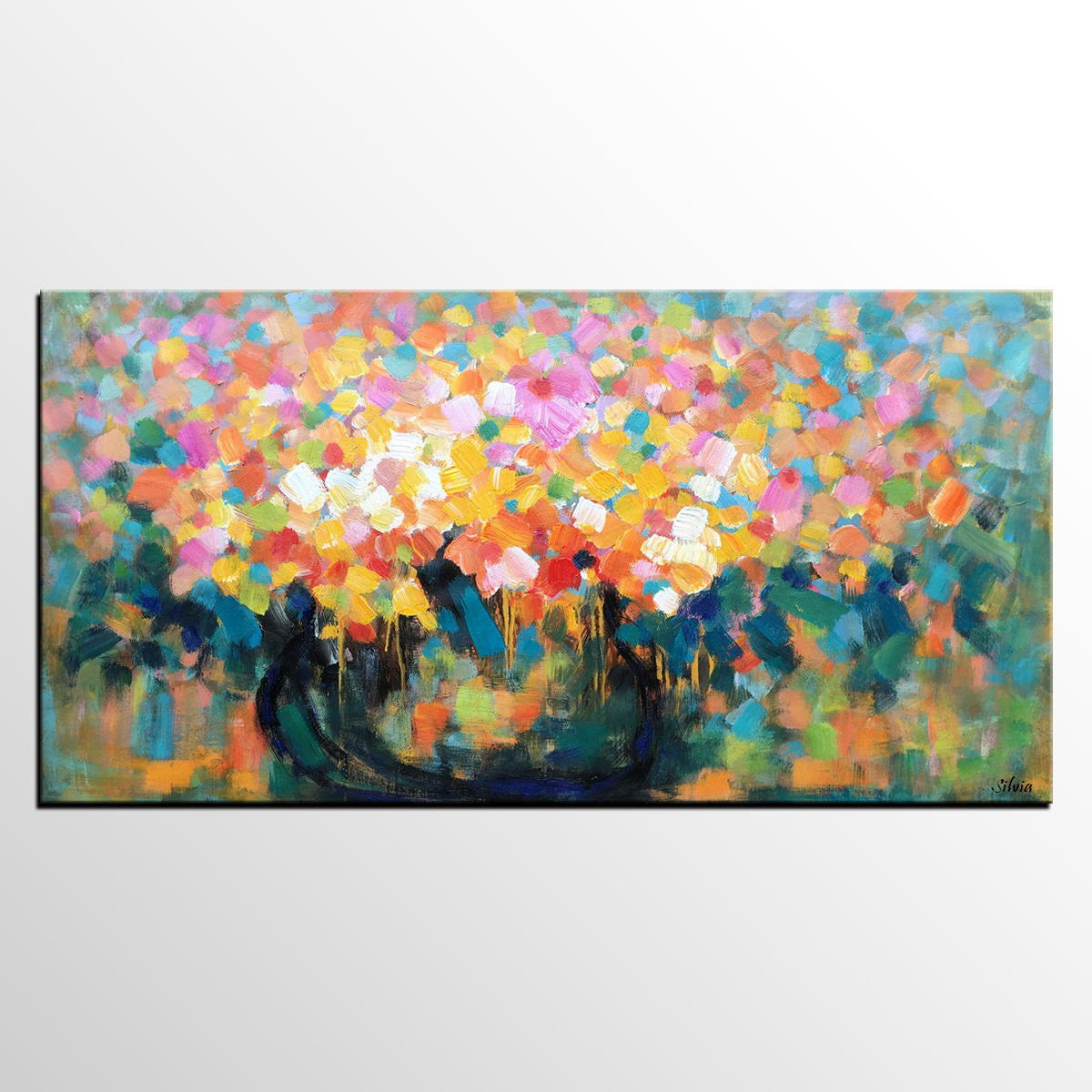 Flower Painting, Abstract Art, Canvas Painting, Custom Painting, Floral Painting - Silvia Home Craft