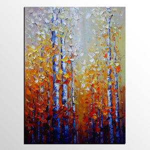 Landscape Painting, Birch Tree Painting, Canvas Painting, Custom Art, Oil Painting