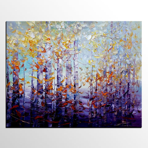 Birch Tree Painting, Large Art, Custom Art, Canvas Painting, Oil Painting - Silvia Home Craft