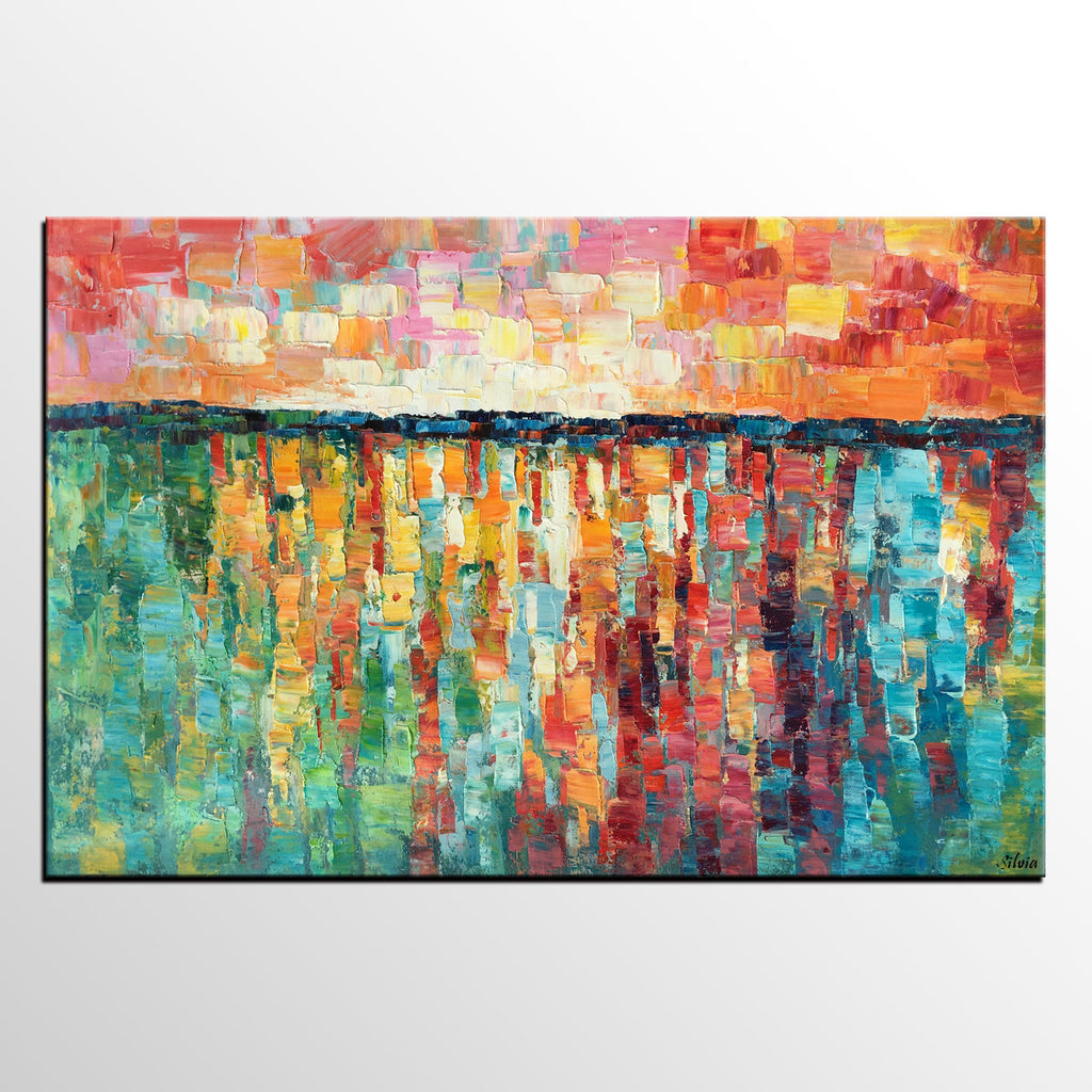 Abstract Painting Oil Canvas Dining Room Wall Art Large