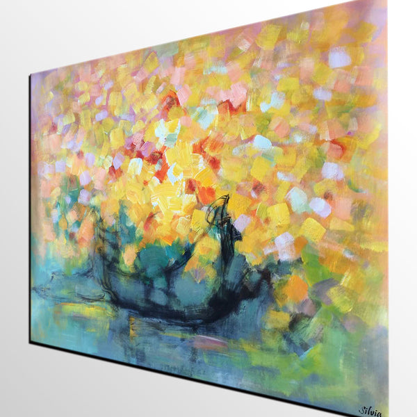 Flower Still Life Painting, Original Oil Painting, Abstract Painting, Canvas Art - Silvia Home Craft