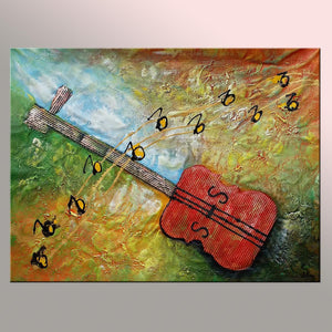 Abstract Art, Original Painting, Guitar Music Painting, Heavy Texture Painting, Large Painting - Silvia Home Craft