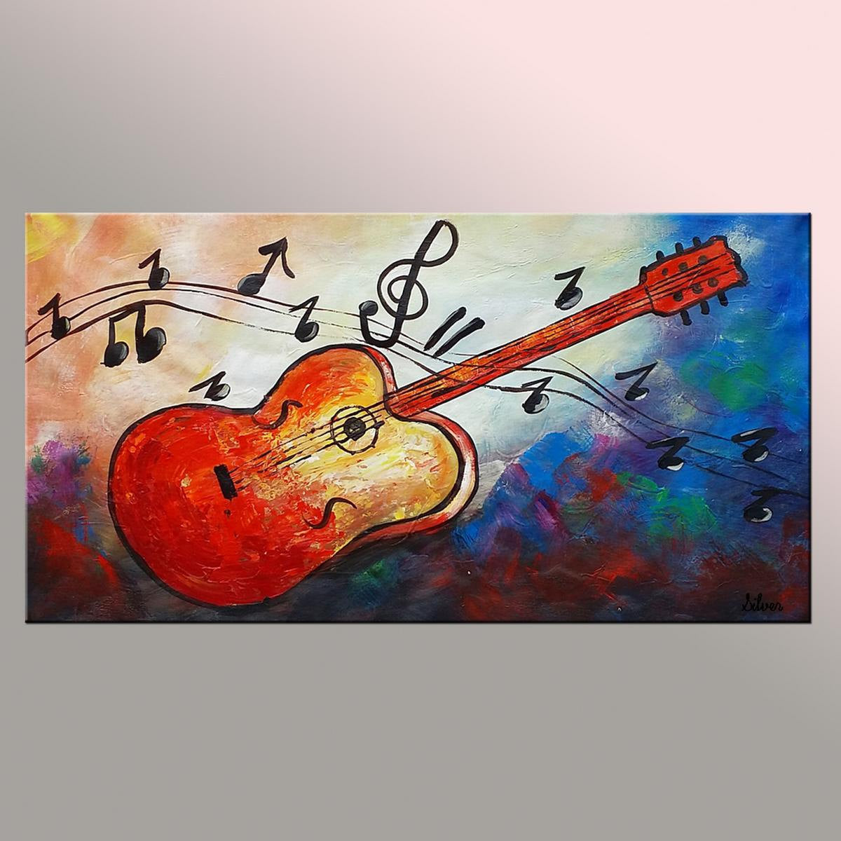 Original Painting Guitar Painting Abstract Wall Art Music Painting Abstract Art