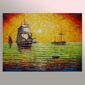 Boat at Sea Painting, Canvas Painting, Ocean Painting, Original Painting