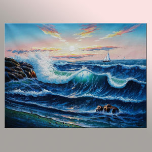 Ocean Oil Painting, Sea Painting, Sunrise Painting, Canvas Painting, Big Wave Painting