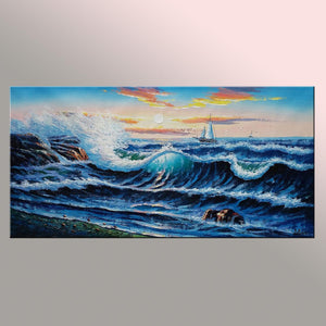 Ocean Big Wave Painting, Canvas Painting, Sail Boat Painting, Seascape Painting - Silvia Home Craft