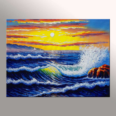 Living Room Wall Art, Original Art, Sunrise Painting, Canvas Painting - Silvia Home Craft