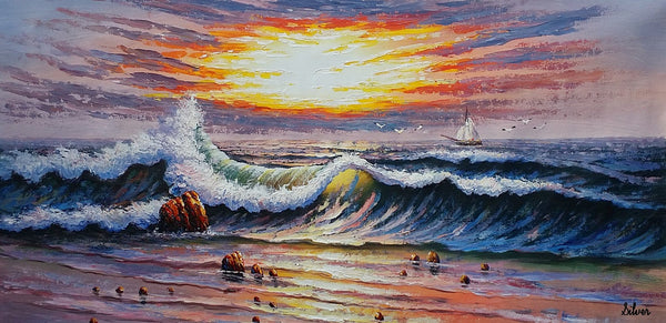 Ocean Oil Painting, Canvas Painting, Boat Painting, Original Painting, Seascape Painting
