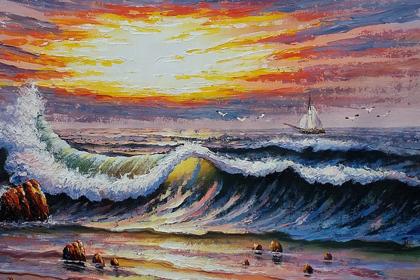 Ocean Oil Painting, Canvas Painting, Boat Painting, Original Painting, Seascape Painting - Silvia Home Craft