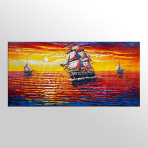 Original Painting, Sail Boat Painting, Sunrise Seascape Painting, Acrylic Art - Silvia Home Craft