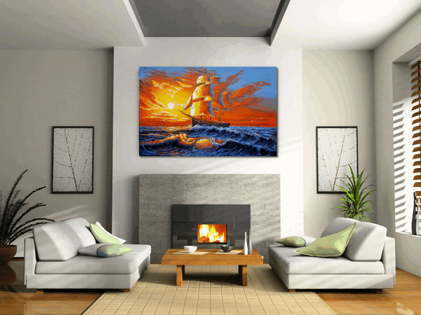 Large Canvas Painting, Sunrise Painting, Boat art Sea Painting, Acrylic Art - Silvia Home Craft
