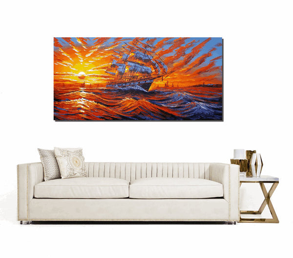 Ship Painting, Sunrise Painting, Living Room Canvas Art, Large Wall Art