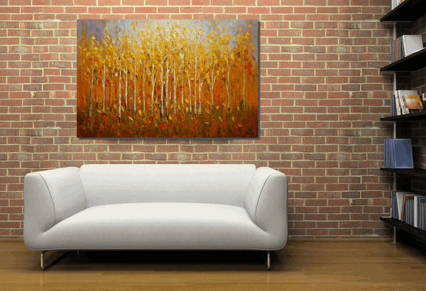 Forest Tree Oil Painting, Landscape Painting, Dining Room Wall Art - Silvia Home Craft