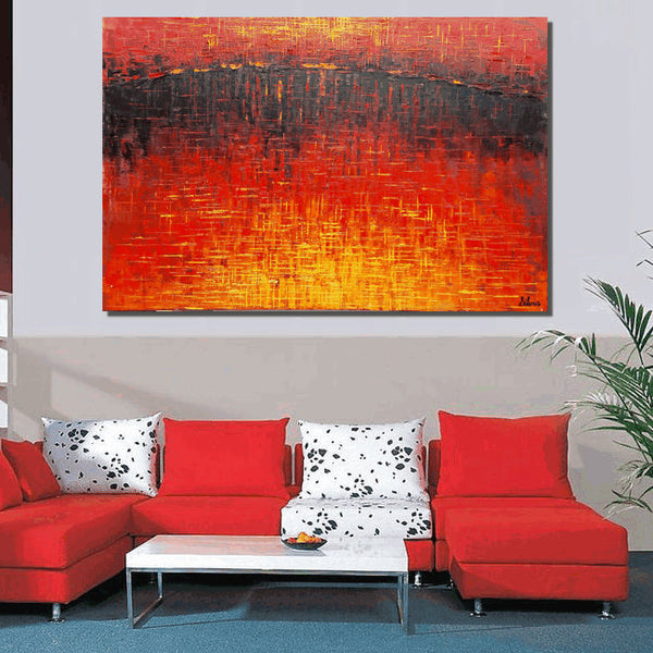 Original Painting, Red Abstract Painting, Modern Canvas Art, Oil Painting