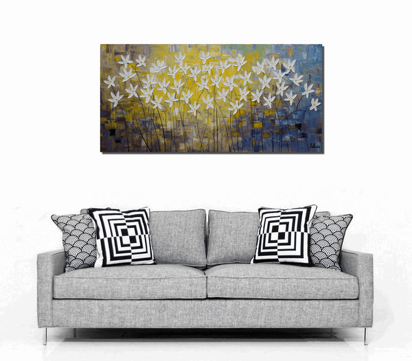 Canvas Art, Abstract Wall Art, Large Painting, Flower Painting, Original Painting - Silvia Home Craft